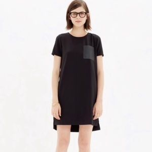 J. Crew Factory Black Dress With Leather Detail